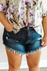 شورت جينز عالي الارتفاع بحاشية خام ومقاسات كبيرة