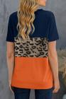 Camiseta de manga corta en bloque de color con estampado de leopardo azul