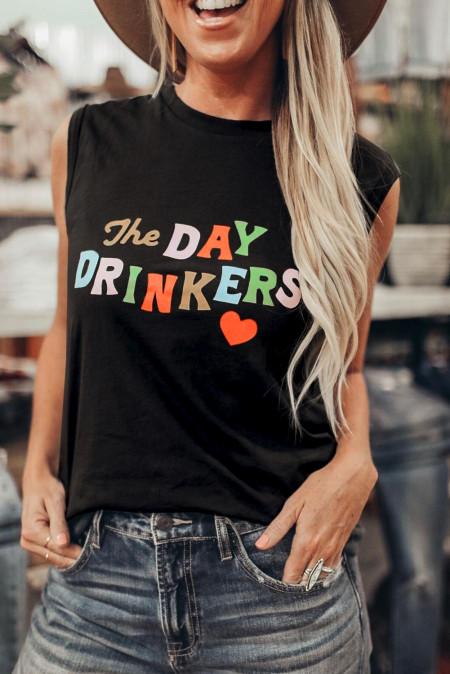 تانك توب مطبوع عليه رسائل DAY DRINKERS