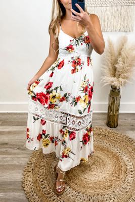 Vestido largo con tirantes finos y encaje floral