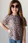 تي شيرت أسود ليوبارد للفتيات الصغيرات