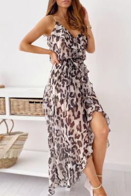 Vestido largo sin mangas de leopardo sin mangas de una línea de deslizamiento informal