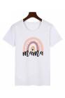 Camiseta infantil blanca con estampado mini arcoíris para padres e hijos