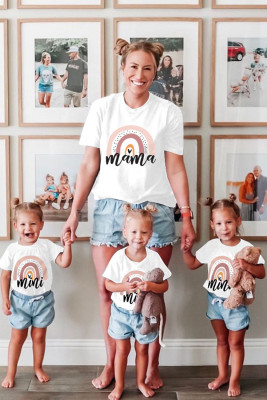 Camiseta blanca para padres e hijos con estampado Rainbow mama, 1 pieza