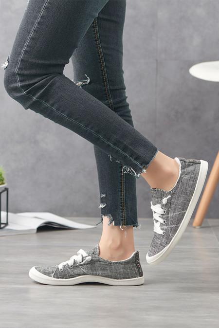 حذاء قماش كاجوال برباط رمادي