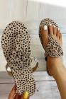 صندل جلد الغزال مسطح القاع بطبعة جلد الفهد