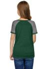 T-shirt vert à manches raglan pour enfant avec boutons latéraux