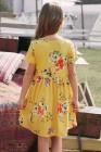 فستان زهري أصفر قصير الأكمام بجيوب للأطفال