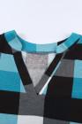 Top de manga corta con cuello en V y estampado de cuadros azul cielo