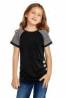 تي شيرت أسود للأطفال بأكمام راجلان مع أزرار جانبية