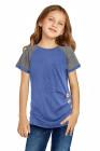 T-shirt enfant bleu ciel à manches raglan et boutons latéraux