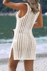 فستان شاطئ كروشيه مفرغ أبيض مع فتحات