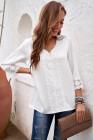 Белая блуза с V-образным вырезом и рукавами 3/4, связанная крючком