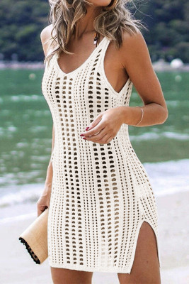 Vestido de playa blanco ahuecado de crochet con aberturas