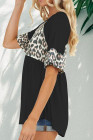 Top casual plisado con costuras de leopardo negro