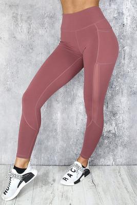 Leggings deportivos de yoga de cintura alta con empalme lateral de malla rosa con bolsillo para teléfono