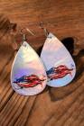 Серьги-крючки с каплевидным принтом в виде губ с серебристым флагом
