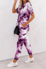 تي شيرت وصبغ باللون الأرجواني وملابس رياضية بنطلونات رياضية