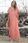 فستان ماكسي فضفاض من القطن المخلوط برقبة على شكل V مع فتحات