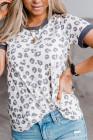 Camiseta de leopardo con ribete gris