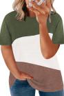 Camiseta verde con bloques de color y cuello redondo de talla grande