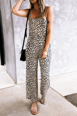 Leopardí kombinéza s otevřeným zadem bez rukávů