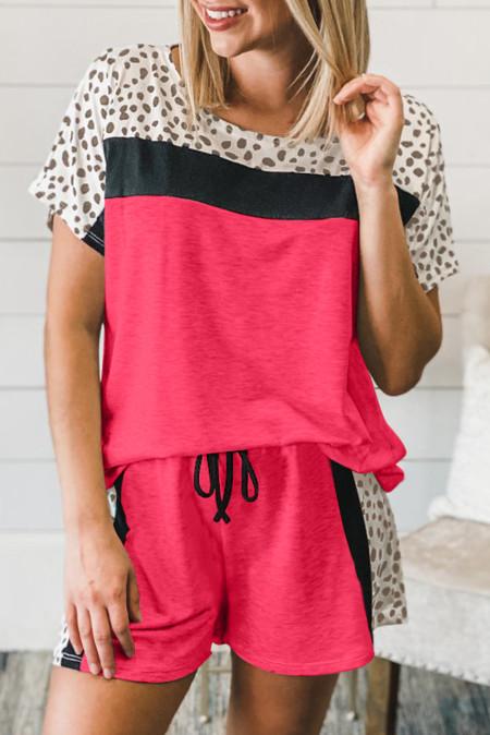 روز طباعة منقطة كولوربلوك تي شيرت Loungewear