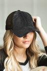 قبعة بيسبول شبكية ذات ظهر ذيل حصان سوداء ممزقة