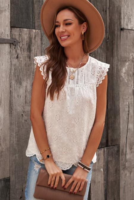 Camiseta sin mangas blanca con ojales