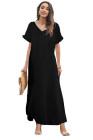Черное свободное платье макси из смесового хлопка с v-образным вырезом и разрезами