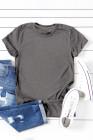 Серая однотонная футболка с круглым вырезом