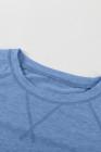 Camiseta azul jaspeada con cuello redondo