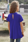 بلوزة بأكمام قصيرة لفتاة زرقاء ثقب المفتاح