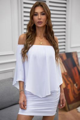 Vestido de poncho mini vestido blanco en capas múltiples