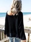 Черный рваный укороченный вязаный свитер прямого кроя