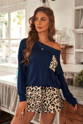 كم طويل أزرق سادة وشورت Loungewear