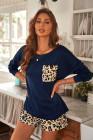 Loungewear blu tinta unita manica lunga e pantaloncini leopardati