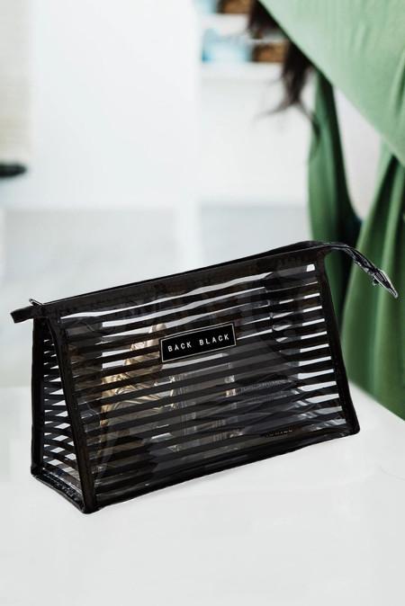 حقيبة مستحضرات التجميل البلاستيكية الشفافة مخططة سوداء
