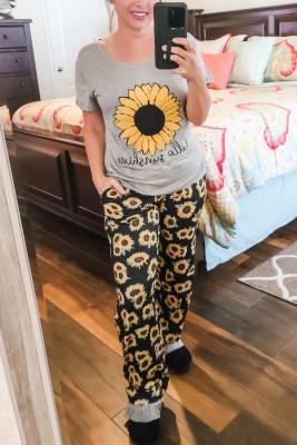 Conjunto de salón con camiseta y pantalón con estampado Sunflower hello sunshine