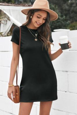 Mini vestido cuello redondo manga corta bolsillo color sólido casual negro