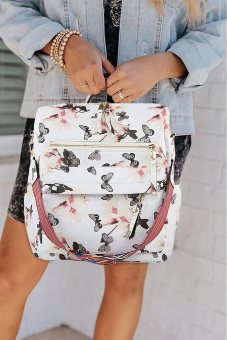 حقيبة ظهر كاجوال بطبعة فراشة بيضاء