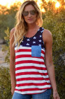 USA Flag Stars Stripes Print Tank مع Patch Pocket