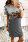 Colorblock Leopard Insert T-shirt Mini Dress