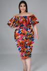 Vestido a media pierna con hombros descubiertos y estampado floral naranja