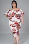 Vestido a media pierna con hombros descubiertos y estampado floral blanco