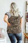Camiseta de manga raglán con estampado de leopardo y talla grande