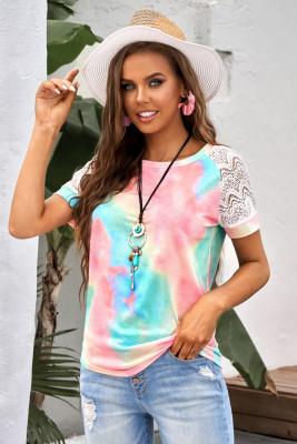 Camiseta con raglán de crochet con efecto tie-dye brillante