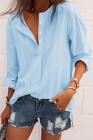 Однобортная блуза Sky с V-образным вырезом на пуговицах