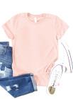 Розовая однотонная футболка с круглым вырезом