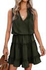 Mini-robe trapèze sans manches à col en V et à volants verte